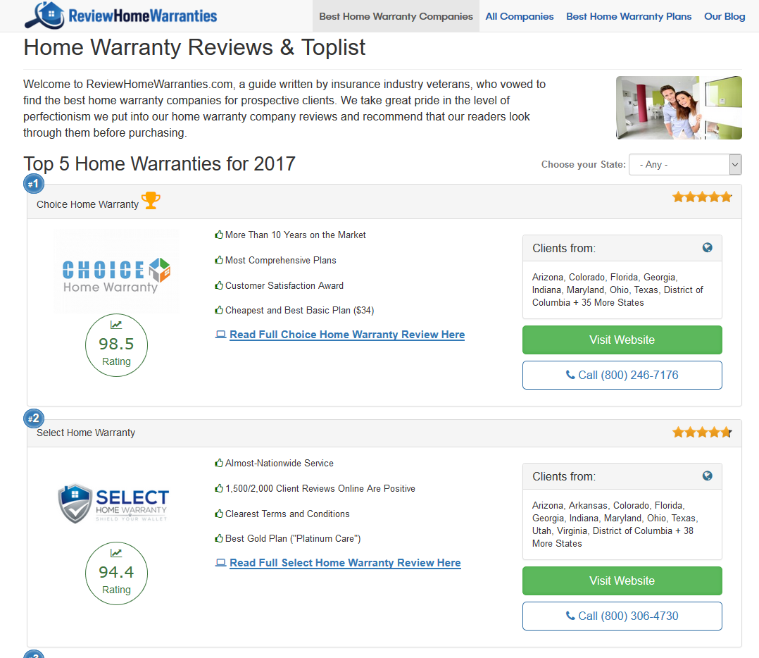 Best home warranty companies in az - Review Home Warranties Screenshot