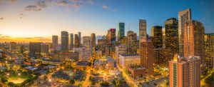 Downtown Houston skyline in Texas USA at twilight