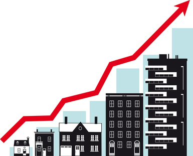 Housing market growth, conceptual vector illustration, EPS 8