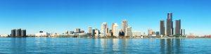 Panorama of the Detroit, Michigan Skyline