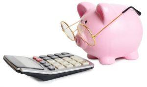 Piggybank and a calculator