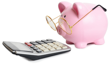 Piggybank and a calculator