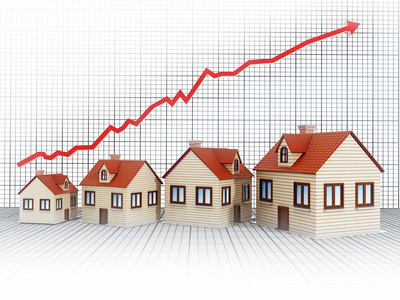Hot housing market with an arrow
