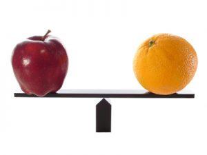 Compare apples to oranges