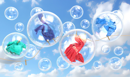 Clothes from clean dryer flying in bubbles