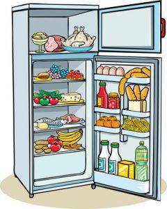 refridgerator with open doors